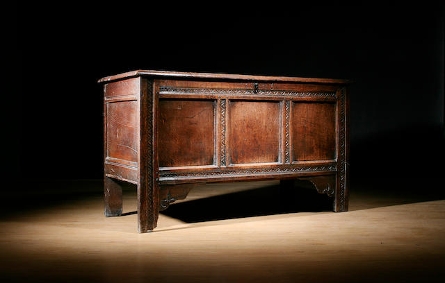 An oak coffer, late 17th Century
