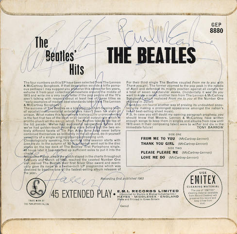 An autographed copy 'The Beatles' Hits' EP, 1963,