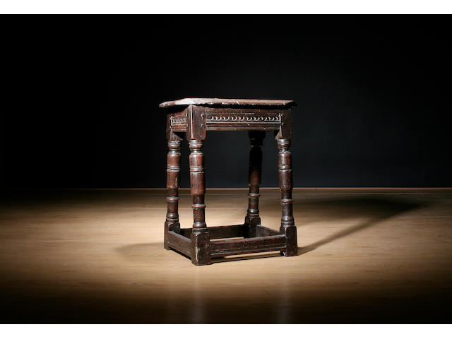 A mid 17th Century oak joint stool