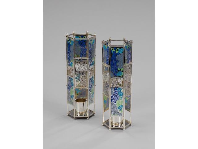 FRANCES LOYEN : A pair of silver and plique-à-jour enamelled candlesticks, London 1985,