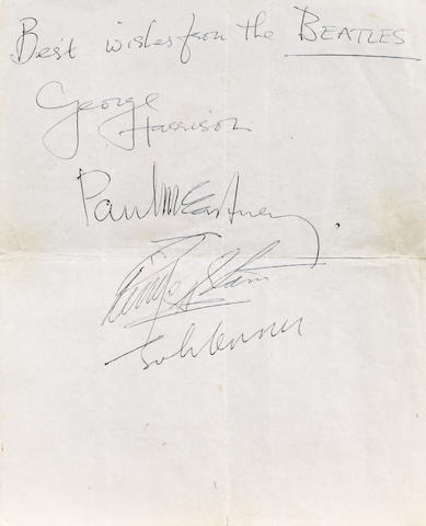 A good set of Beatles autographs, 1963/64,