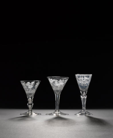 Five engraved German wine glasses first half 18th century