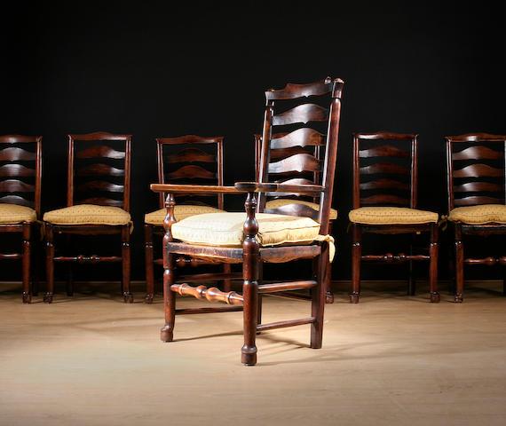 A set of twelve ash ladderback chairs