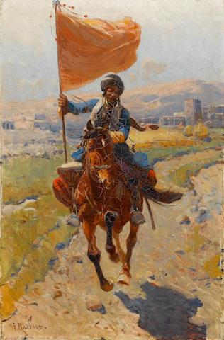 Frantz Alexeevich Roubaud (Russian, 1856-1928) Kirghyz horseman with a red flag 52.3 x 34 cm. (20 3/