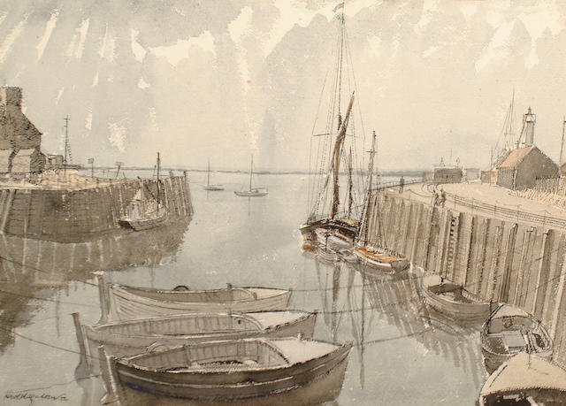 Karl Hagedorn (British, 1889-1969) Whitstable harbour