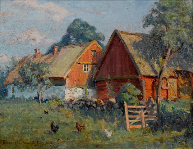 Nikolai Petrovich Bogdanov-Bel'sky (Russian, 1868-1945) Farmhouses 34 x 45.4 cm. (13 1/4 x 17 3/4 in