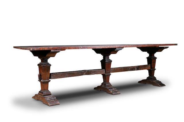 A good 17th Century oak trestle refectory table