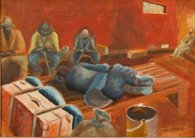 Gerard Sekoto (South African, 1913-1993) The Waiting Room 34.5 x 48.5 cm. (13½ x 19¼ in.)