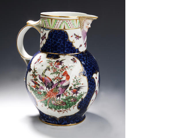 A Worcester mask jug 18th century