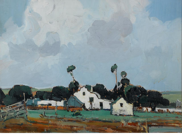 Pieter Willem Frederick Wenning (South African, 1873-1921) The white farmhouse 45 x 61 cm. (17¾ x 24