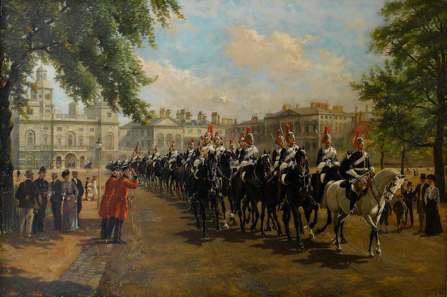 Harry Payne (British, 1858-1927) The Royal Horse Guards (The Blues and Royals) crossing Horse Guards Parade 92 x 138 1/2 cm. (36 1/4 x 54 1/2 in.)