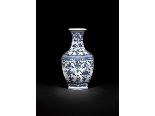 A large blue and white hexagonal vase Qianlong seal mark