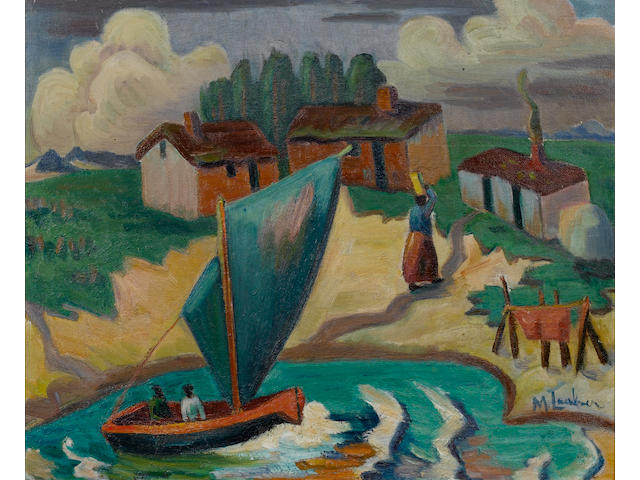 Maggie (Maria Magdalena) Laubser (South African, 1886-1973) The Boat 44.5 x 54.5 cm. (17½ x 21½ in.)