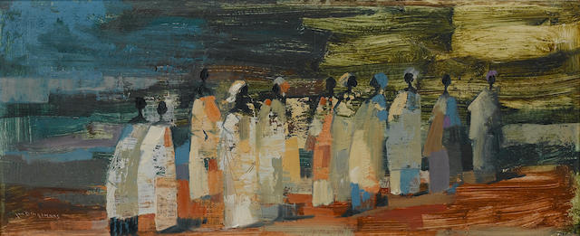 Johannes Wilhelmus (Jan) Dingemans (South African, 1921-2001) Bantu women 25.5 x 61 cm. (10 x 24 in.