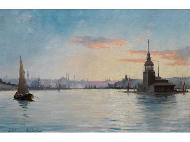 François Léon Prieur-Bardin (French, 1870-1939) Leander's Tower on the Bosphorous 35.5 x 52 cm. (14 x 20½ in.)