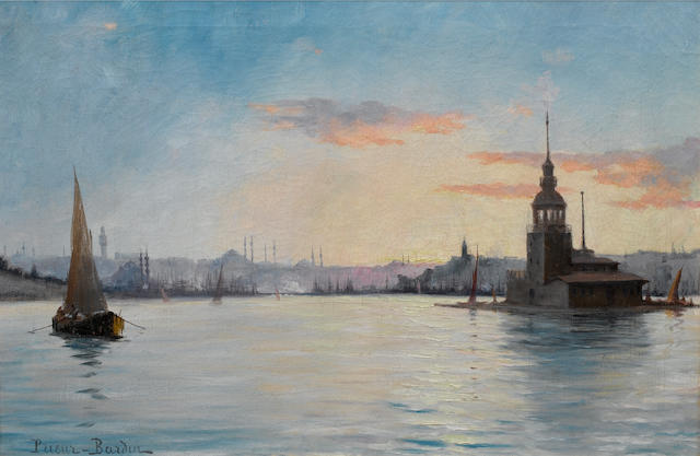 François Léon Prieur-Bardin (French, 1870-1939) Leander's Tower on the Bosphorous 35.5 x 52 cm. (14 x 20½ in.)