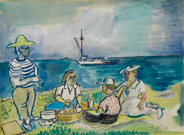 David Burliuk (Russian/American, 1882-1967) Picnic at Montauk 28.4 x 38.5 cm. (11 1/4 x 15 1/4 in.)