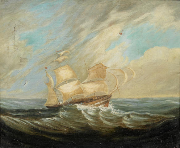 (n/a) Thomas Baines (South African, 1820-1875) A frigate in stormy waters, Table Bay 28 x 33 cm. (11 x 13 in.)