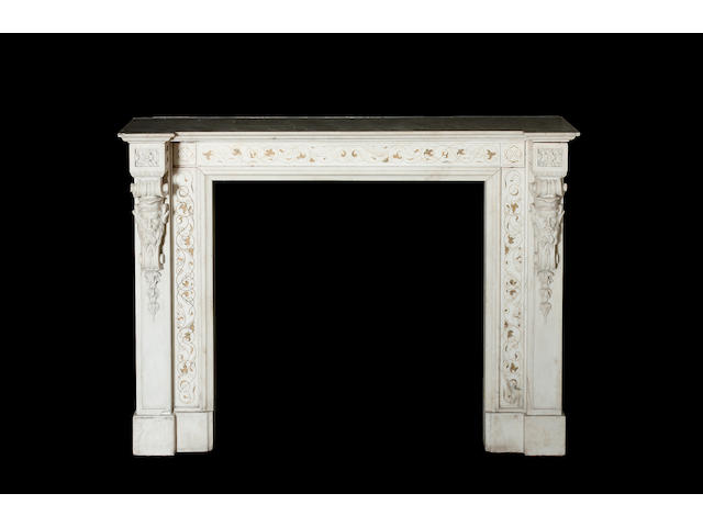 An early 19th century white marble and scagliola inlaid Chimneypiecein the manner of Pietro Bossi,