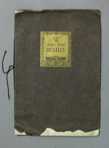 A Three Litre Bentley sales catalogue, October 1926,
