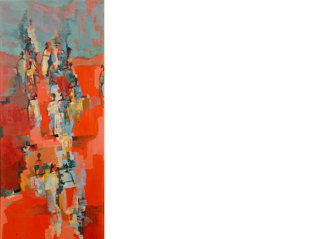 Johannes Wilhelmus (Jan) Dingemans (South African, 1921-2001) African figs 88.8 x 39.3 cm. (35 x 15½