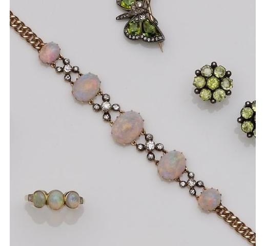 An opal and diamond bracelet