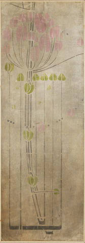 Charles Renee Mackintosh  A portion of stencilled wall panel from the Ingram Street Tea Rooms, circa 1900