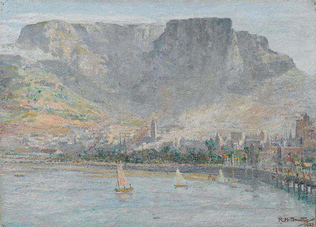 Rudolf Helmut Sauter (British, 1895-1977) The Cape Town shore 48.2 x 66 cm. (19 x 26 in.) unframed