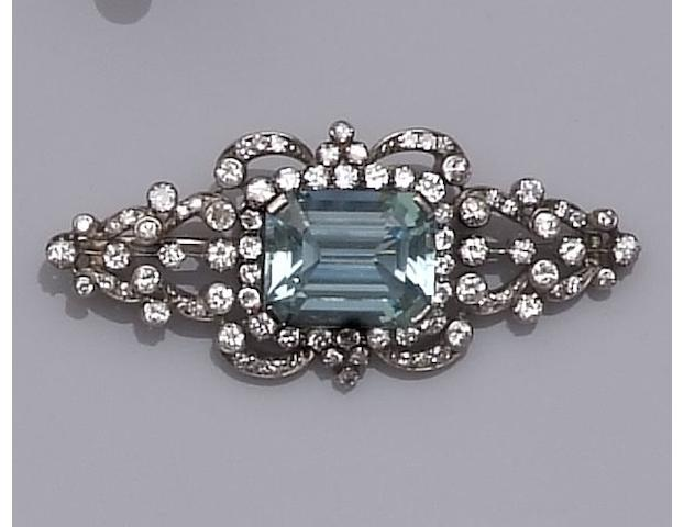 An aquamarine and diamond set brooch