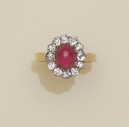 A synthetic ruby and diamond cluster ring,