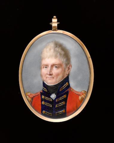 Peter Eduard Stroely (German, 1768-circa 1826) An Officer, wearing scarlet coatee with blue facings, gold button holes and epaulettes, frilled chemise and black stock
