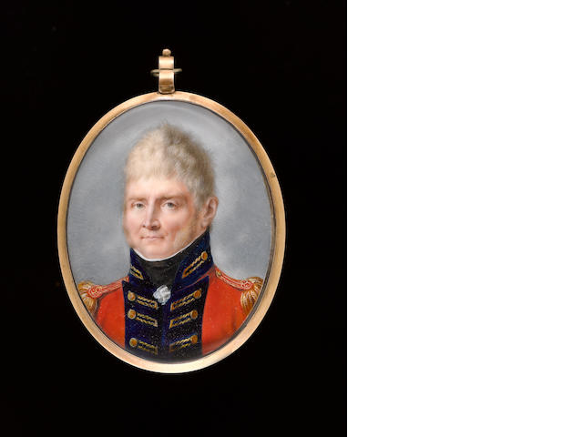 (n/a) Peter Eduard Stroely (German, 1768-circa 1826) An Officer, wearing scarlet coatee with blue facings, gold button holes and epaulettes, frilled chemise and black stock