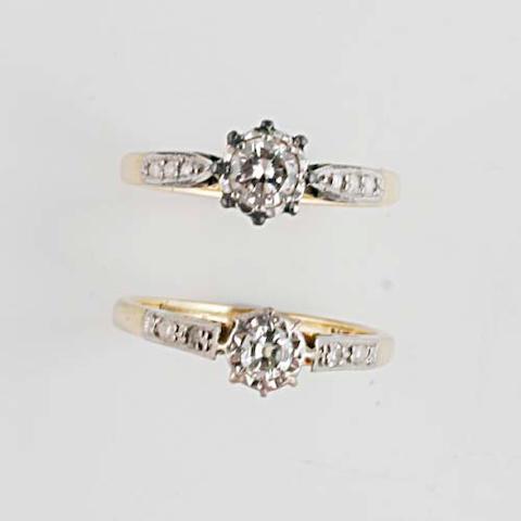 A diamond single stone ring, (2)