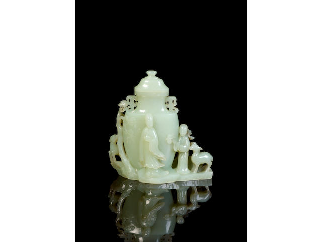 A fine pale greenish-white jade vase and cover Jiaqing