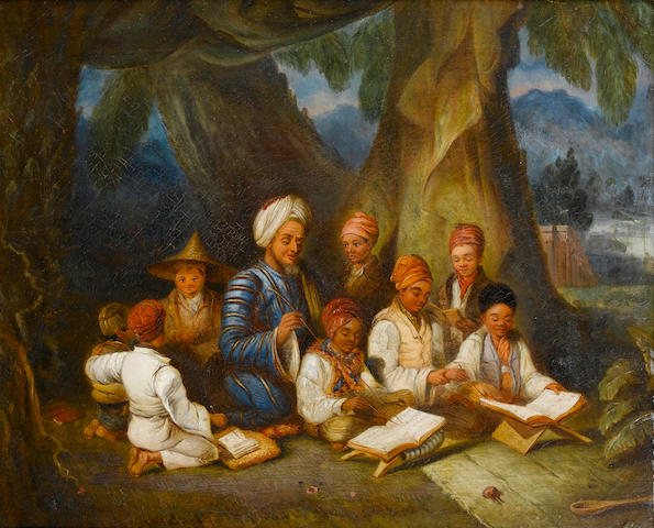 English School, (circa 1855) Children receiving instruction at a South East Asian madrasah 15 x 18 i