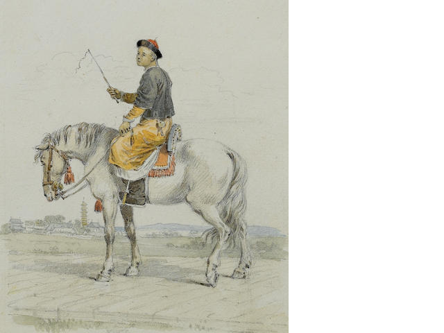 William Alexander (British, 1767-1816) A Mandarin's servant on horseback 20 x 16.5 cm. (7¾ x 6½ in.)