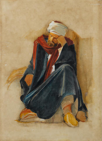 John Frederick Lewis, R.A., P.O.W.S. (1805-1876) An Arab at rest 31.5 x 23 cm. (12¼ x 9 in.)