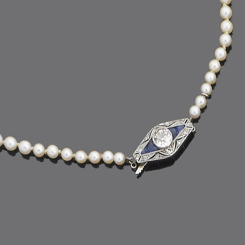 A two-row cultured pearl, sapphire and diamond necklace,