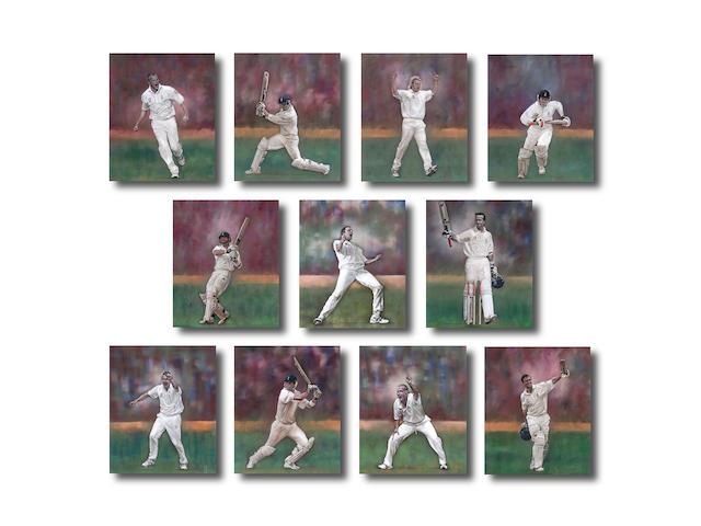 Set of 11 Stephen Doig Originals of the Ashes winnning team of 2005