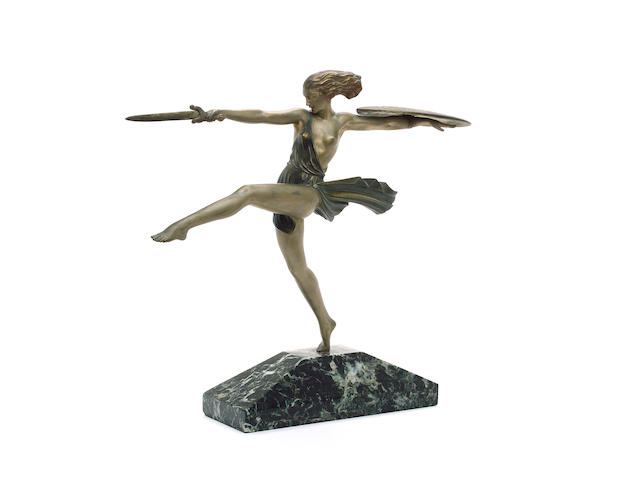Pierre Le Faguays 'Female Warrior' a Cold-Painted Bronze Figure, circa 1925