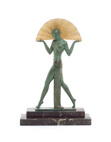 Raymonde Guerbe for Max Le Verrier an Art Deco Cold-Painted Sphelter and Frosted Glass Figural Lamp