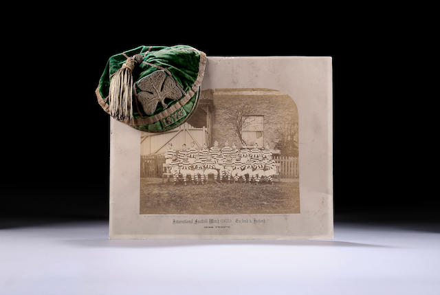 An 1875 Ireland International Rugby Cap and team photograph