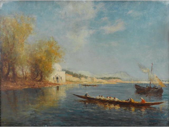 Félix François Georges Philibert Ziem (French, 1821-1911) The banks of the Bosphorus 61 x 81.3 cm. (24 x 32 in.)