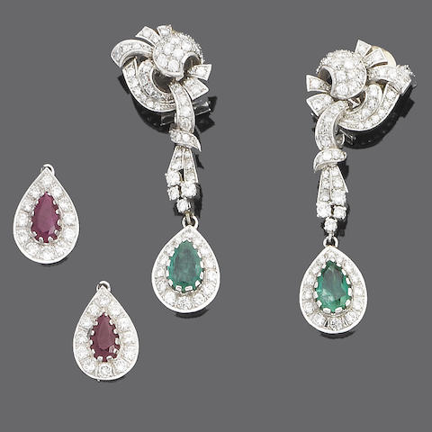 A pair of diamond, ruby and emerald pendent earclips