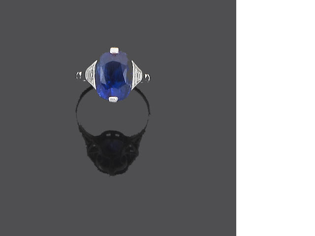 An art deco sapphire and diamond dress ring,