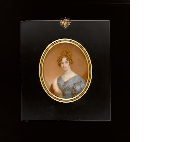 (n/a) Sir William John Newton (British, 1785-1869), A Lady, wearing blue dress with voluminous sleeves and matching waistsash, white underslip with lace trim and fur lined brown coat over her left shoulder, gem encrusted pearl brooch at her corsage, her hair upswept and dressed in curls