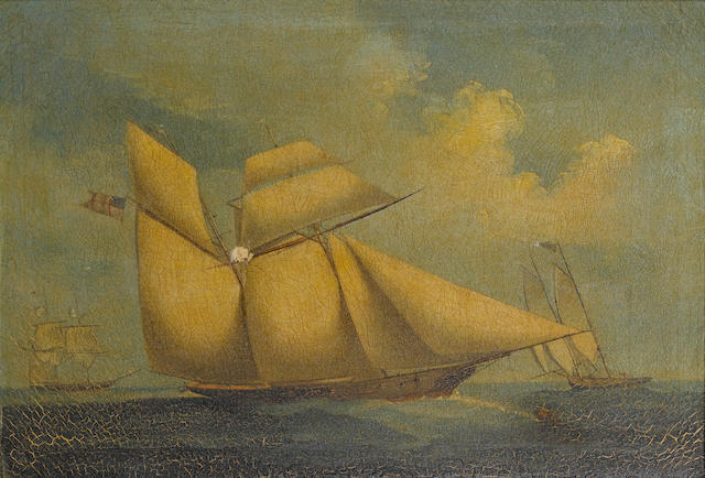 Follower of Spoilum (Chinese, active circa 1765-1805) Benjamin Boyd's yacht The Wanderer in full sai