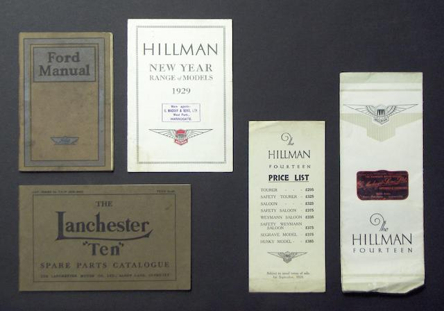 Hillman, 1929, sales leaflet and price list,