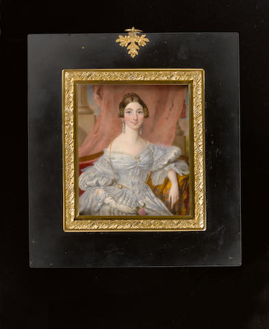 (n/a) Lorenzo Theweneti (Italian, circa 1797-1878) A Lady, seated on a crimson sofa draped with gold stole with embroidered details, in front of a pink curtain with pillars in background, wearing an elaborate white dress with ribbons and lace detailing and adorned with gold, gem and pearl encrusted brooches, gold strand necklace, diamond rings and long drop diamond earrings, she holds a pink rose in her gloved right hand, her hair dressed in plaits