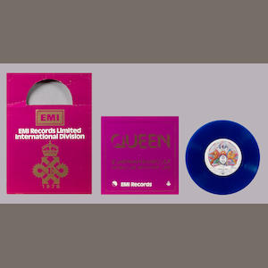 The commemorative blue vinyl pressing of the Queen single 'Bohemian Rhapsody'/'I'm In Love With My C
